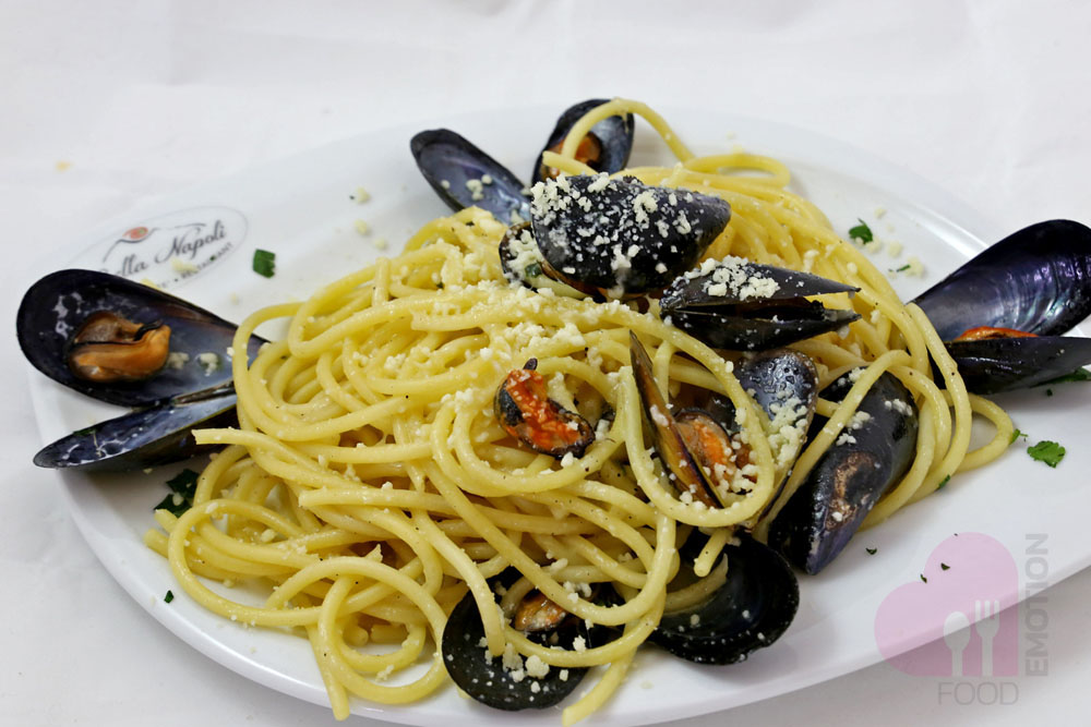Spaghetti made by Bella Napoli with mussels and chili pepper