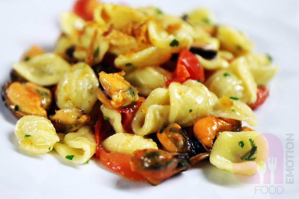 Fresh Orecchiette pasta with mussels and mullet roe
