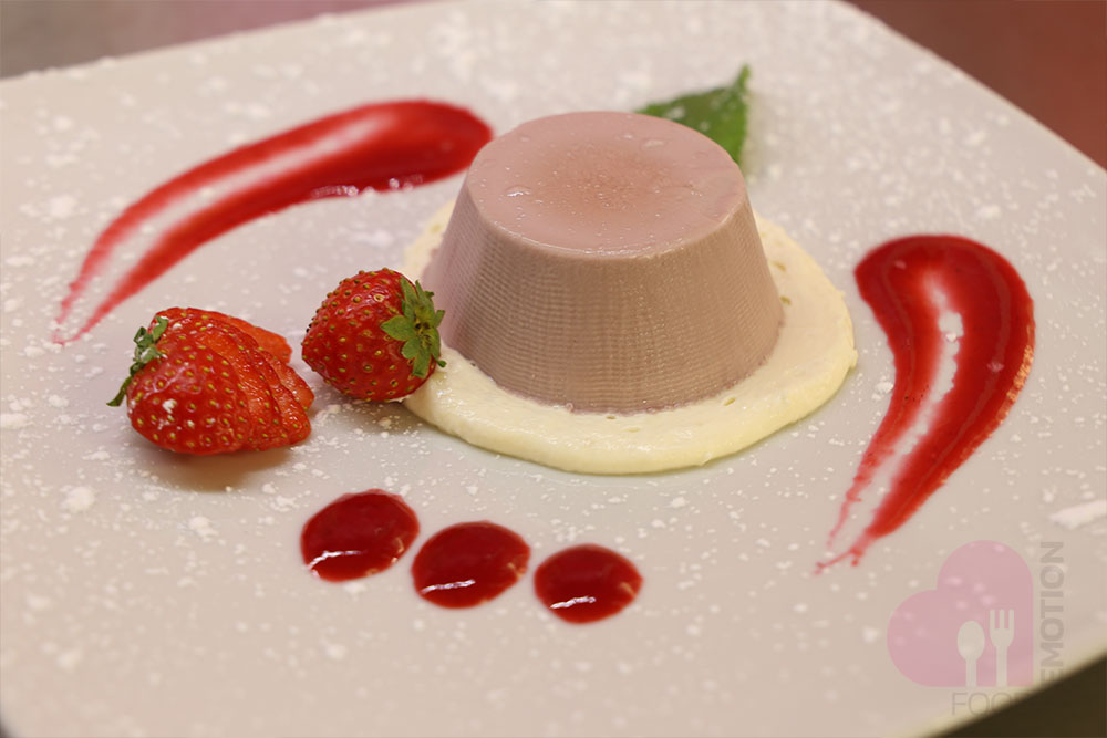 Pudding made with Moscato Docg (a typical red wine from Scanzo, Bergamo) by Biava vinery