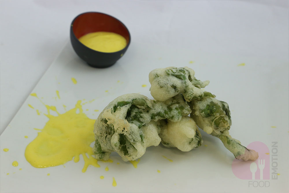 Battered sea lettuce with salted Zabaione sauce (sweet cream made of eggs, sugar and liqueur)